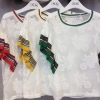 เสื้อผ้าเกาหลีพร้อมส่ง เสื้อลูกไม้สีขาวแขนตัดต่อไหมพรมริ้วสีๆ