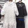 ชุดเดรสเกาหลีพร้อมส่ง Dress ลูกไม้ สีขาว สีดำ