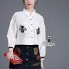 เสื้อผ้าเกาหลี พร้อมส่งstylish long sleeve bee embroidered shirt denim skirt chic set