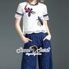 เสื้อผ้าเกาหลี พร้อมส่ง Buggy Lace Stick Saphire Blue Lace Pants Set