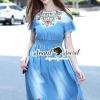 ชุดเดรสเกาหลี พร้อมส่งBohe Blossom Stickly Denim Smocking Dress