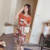 เสื้อผ้าเกาหลีพร้อมส่ง เซท2ชิ้น เสื้อผ้ายืดเนื้อดีกระโปรงผ้าชีฟรองติดดอก3มิติ