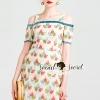 ชุดเดรสเกาหลี พร้อมส่งMixxy Color Leaf Sweety Netty Cream Dress