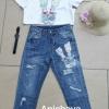 เสื้อผ้าแฟชั่นเกาหลีพร้อมส่ง set 2 ชิ้นเสื้อ+กางเกงยีนส์ขายาว