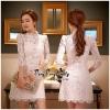 ชุดเดรสเกาหลี พร้อมส่งเดรสลูกไม้สีขาวเนื้อผ้าสวยหรู