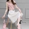 ชุดเดรสเกาหลี พร้อมส่ง Destiny Pastel Pink Top + Pearl Skirt