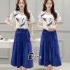 เสื้อผ้าเกาหลี พร้อมส่งเซ็ตเสื้อพิมพ์ลายนกโทนสีขาวน้ำเงิน