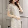 ชุดเดรสเกาหลี พร้อมส่งNelly Luxury Soft Silver Lace Cocktail Dress