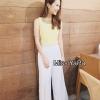 เสื้อผ้าเกาหลี พร้อมส่ง เสื้อครอปสีเหลืองพาสเทลใส่แมทซฺกับกางเกงเอวสูงสีขาว