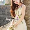 เสื้อผ้าเกาหลี พร้อมส่งViolatta Bloom Creamy Cami Dress