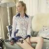 เสื้อผ้าแฟชั่นเกาหลีพร้อมส่ง setเสื้อเชิ้ต+กาวเกงขาสั้นพิมพ์ลายเด่นชัด