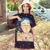 เสื้อผ้าเกาหลีพร้อมส่ง Oversize t-shirt สกรีนลายการ์ตูนหน้าเด็กผู้หญิงทั้งหน้า-หลัง