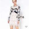 ชุดเดรสเกาหลี พร้อมส่งSP brand new collection lace and flower print dress