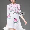 ชุดเดรสเกาหลี พร้อมส่งเดรสสีขาวปักลายดอกกุหลาบอังกฤษสีชมพู