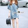 ชุดเดรสเกาหลี พร้อมส่งV Stripy Oranamental Fringe Sleeve Denim Dress