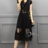 ชุดเดรสเกาหลี พร้อมส่งCrisity High Light Black Dress