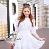 ( พร้อมส่งเสื้อผ้าเกาหลี) เดรสสีขาวเนื้อผ้าลินินทอปักลวดลายลูกไม้ ผ้าสวยมากค่ะมีtextureในตัว สม็อกรอบเอวค่ะ ปลายแขนจั๊มสามส่วน ชายกระโปรงระบาย มีซับในในตัวนะคะ