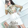 ชุดเดรสเกาหลี พร้อมส่ง White Beauty Sparkling Vintage Dress