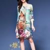 ชุดเดรสเกาหลี พร้อมส่ง เดรสผ้าไหมอิตาลี่พิมพ์ลายดอกไม้ของ