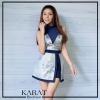 เสื้อผ้าแฟชั่นเกาหลี เสื้อคอเต่าจับจีบแขนกุดเนื้อผ้าซีทรู ด้านนอกสายเดี่ยวตัดต่อกระโปรงผ่าด้านหน้า