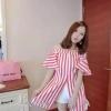 เสื้อผ้าเกาหลี พร้อมส่งเซทเสื้อลายริ้วทรงเปิดไหล่สวย