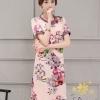 ชุดเดรสเกาหลี พร้อมส่งเดรสผ้ายืดโพลี่พิมพ์ลายดอกไม้