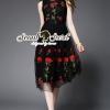 ชุดเดรสเกาหลี พร้อมส่งBlact Net Long Dress Red Rose Stickly