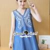 ชุดเดรสเกาหลี พร้อมส่งLadiest Bohe White Stick Camin Denim Dress