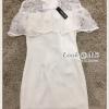 ชุดเดรสเกาหลี พร้อมส่งDress เดรสกระโปรงสั้นสีขาว
