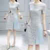 ชุดเดรสเกาหลี พร้อมส่งSky Blue Lace Chiffon Pleat Mini Dress