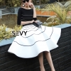 ชุดเดรสเกาหลี พร้อมส่งStripes Sweater With Skirt Sets