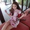 ( พร้อมส่งเสื้อผ้าเกาหลี) Mini Dress Maoklee สีชมพูหวานแหว๋ว รวมรูปอาหารเช้า น่าทานมากๆปลายแขนตัดด้วยสีแดงเหลือดหมูที่ทำจากหนัง PU (เป็นหนังนิ่มๆ) เนื้อผ้าหนานุ่มลายสกรีนตัวนี้คมชัด ชน Shop เลยนะคะ