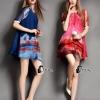 ชุดเดรสเกาหลี พร้อมส่ง Luxury Silk Rainbow print Dress