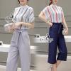 เสื้อผ้าเกาหลี พร้อมส่งStripes Blouse With Casual Capri Pants Sets