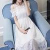 ชุดเดรสเกาหลี พร้อมส่งLong dressยาวสีขาวดูสะอาดตา