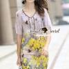 ชุดเดรสเกาหลี พร้อมส่งVintage Yellow Blossom Print Dress