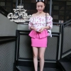 เสื้อผ้าเกาหลี พร้อมส่ง Cute flower blouse and pink skirt