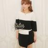 เสื้อผ้าเกาหลี พร้อมส่ง เซ็ตเสื้อ+กระโปรงทูโทนขาวดำ ดีไซน์ข้างหน้าปาดเฉียงระดับไม่เท่ากัน