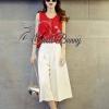เสื้อผ้าเกาหลี พร้อมส่งเซ็ทเสื้อ+กางเกง เสื้อผ้าชีฟองเนื้อดีหนาสีแดงสดกางเกงผ้าพื้นสีขาวเนื้อหนามีน้ำหนัก