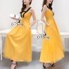 ชุดเดรสเกาหลี พร้อมส่งเดรสยาวสีเหลืองคัสตาด