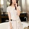 ชุดเดรสเกาหลี พร้อมส่งBalllon Lace Chiffon Sweety Dress
