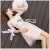 ชุดเดรสเกาหลีพร้อมส่ง มินิเดรสผ้าทูลเลสีชมพูอ่อนปักลายดอกไม้ทรงเปิดไหล่