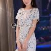 เสื้อผ้าเกาหลีพร้อมส่ง Pastel Blue Liner Lace Dress