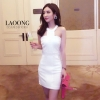 ชุดเดรสเกาหลีพร้อมส่ง Dress ขาวล้วนคล้องคอ