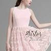 ชุดเดรสเกาหลี พร้อมส่งPink SLeeveless Elegant Fashion Dress