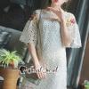 ชุดเดรสเกาหลีพร้อมส่ง Vella Netty Lace Bell Sleeve Flora Stick Dress