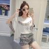 เสื้อผ้าเกาหลี พร้อมส่งBohemian Style Tassel Chiffon Blouse With Silk Vintage Shorts Sets