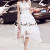 ชุดเดรสเกาหลี พร้อมส่งDolce High Fashion Cami PomPom White Dress Long Tail