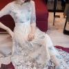 ชุดเดรสเกาหลี พร้อมส่ง long dress ผ้ามุ้งแขน 5 ส่วน