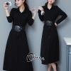 ชุดเดรสเกาหลี พร้อมส่งlong dress สีดำ แขนยาว ผ้ามีน้ำหนักทิ้งตัว